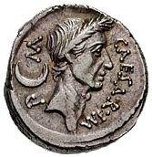 Imagen del anverso de un denario con la efigie del César